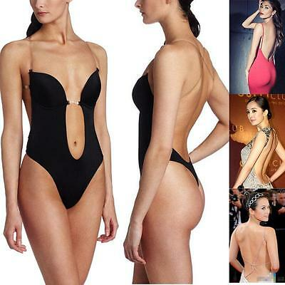 43416011eed9a Sexy DEEP Plunge THONG Backless CLEAR STRAP Convertible BODY SHAPER Bras Sz  S-XL