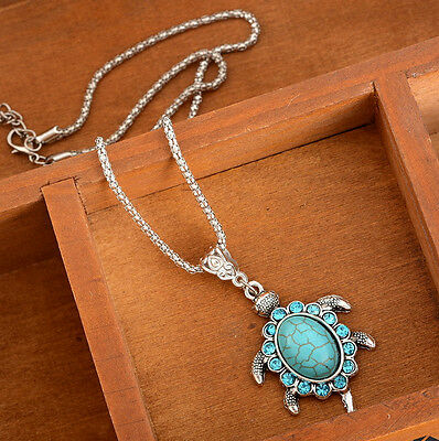 1PC Women Boho Turquoise Tortoise Turtle Animal Pendant Charm Necklace Jewelry