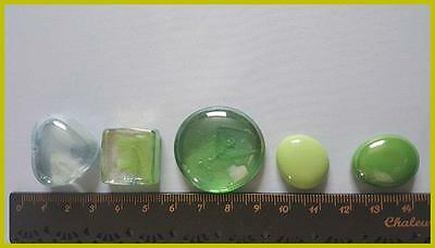 Green/ clear  Glass Fairy Stones  ☆ Wishing Stones #12
