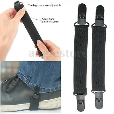 New Elastic Motorcycle Bike Elastic Boot Straps Pant Clips Stirrups Jod Clips US