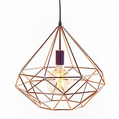 Suspension light AZALEE copper LIGNES DROITES Vintage Scandinavia cage geometric