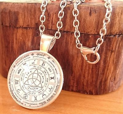 Wicca Pagan Wheel of Year Life Being Trinity Symbol Silver Amulet Necklace Pouch