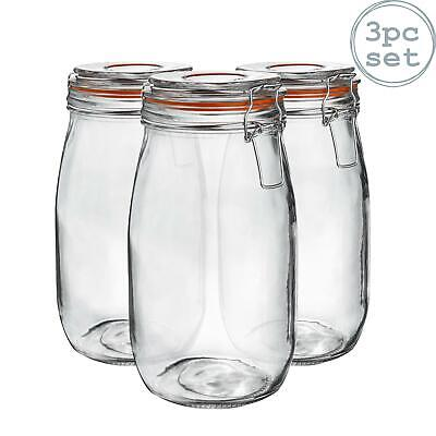 Glass Storage / Food Preserve Preserving Clip Top Jar - 1500ml - x3