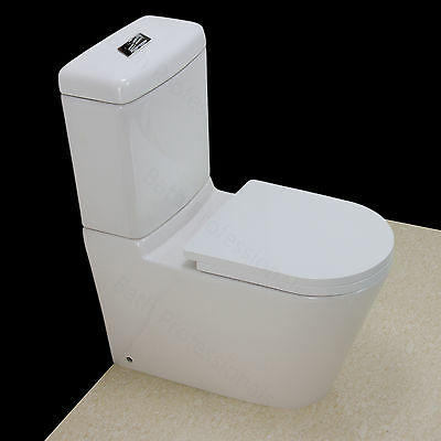 Toilet WC Close Coupled Bathroom Ceramic Cloakroom Comfort Soft Close Seat T4SS