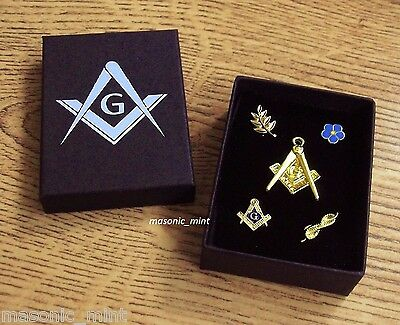 Masonic Lapel / Pin Badge & Watch Fob Set, Gold Plated - Square & Compass / Gift