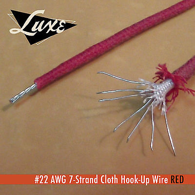 #22 AWG Cloth 7-Strand Copper Hook-Up Wire RED