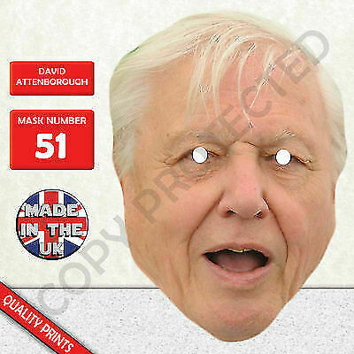 David Attenborough Celebrity Card Face Mask - Made In The UK