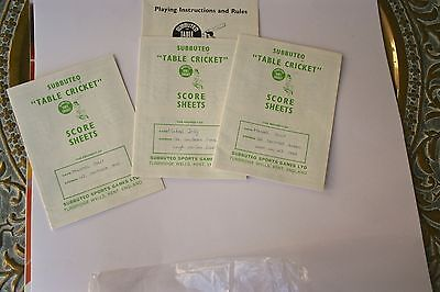 Subbuteo Vintage 1970'S Cricket Rules And Three Score Sheets