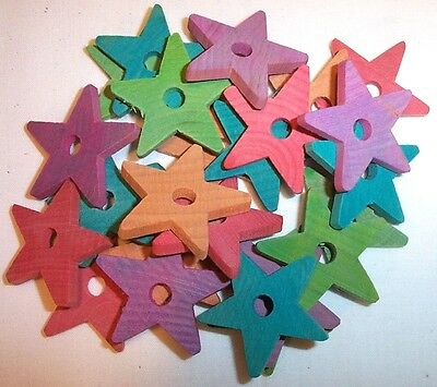 """25 Bird Toy Parts Colored Wood 1-1/2"""" Stars Wooden Parrot Toy Craft Bead w/ Hole"""