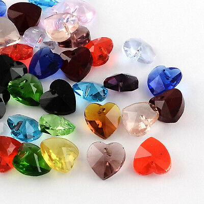 25 Faceted Heart Glass Charms Pendants 10mm Mixed Colours Jewellery Making (011)