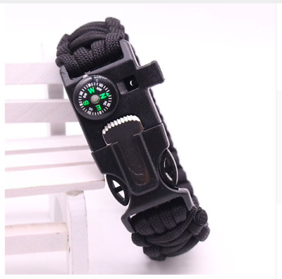 Multi Function Survival Tool Flint Steel Whistle Para Cord Military Army Camping