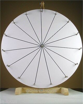 "24"" Woodwell® Tabletop White Dry Erase Fortune Prize Wheel,15Slots-Wood-Spinning"