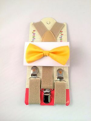 New Suspender and Bow Tie Sets for Boys Girls Kids Child Children Tan Yellow