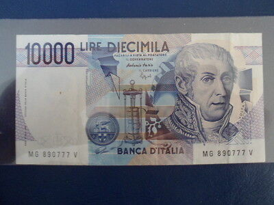 1984 Italy 10000 Lire  Bank Note-VG Cond.-16-126