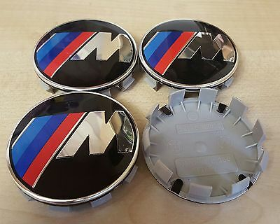 4x M POWER Black Fits BMW MOST SERIES 68mm ALLOY WHEEL CENTRE CAPS 10 Pin