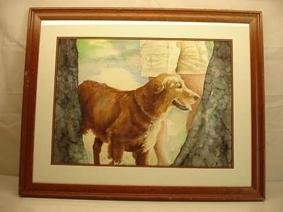 Golden Retriever Painting Framed Dog Original Watercolor Paper Signed Fussell