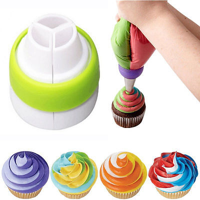 3 Color Icing Piping Bag Russian Nozzle Converter Coupler Cake Cream Decor Tool