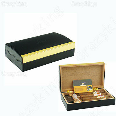 COHIBA Black Book Style Leather Cedar Travel Cigar Humidor Cutter Humidifier