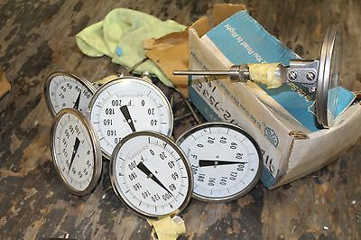 """Lot Of 7 New Ashcroft 0-200F Thermometer 4"""" Stem"""