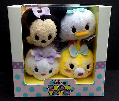 "DISNEY Store TSUM TSUM Plush MINNIE MOUSE DRESSY Set of 4 Mini 3 1/2"" USA NEW"