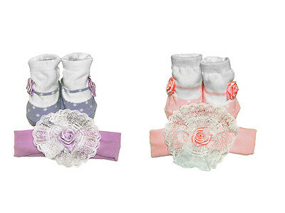 Cute Baby Socks & Headband Set with Floral Applique Girl Gift Set