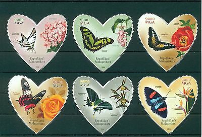 Madagascar Butterflies Flowers Schmetterlinge Insects 6 MNH stamps set