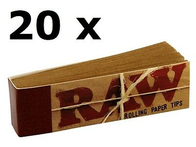 20 Raw Tips Classic Natural Rolling Filter Tips unrefined (1000 leaves)