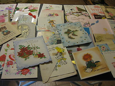 Lot  60 + Vintage Greeting Cards 1930s, 1940s, 1950s 1960s Crafts Scrapbooking