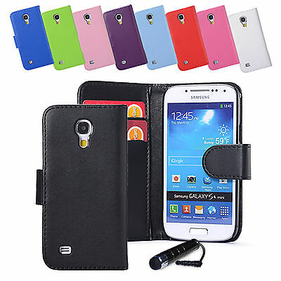 Pu Leather Wallet Case Cover For Samsung Galaxy S4 / S4 Mini + Screen Protector