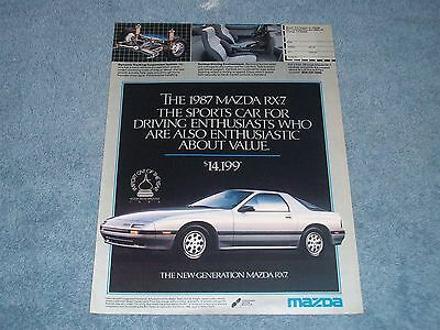 "1987 Mazda RX-7 Vintage Ad ""Sports Car for Driving Enthusiasts...."""