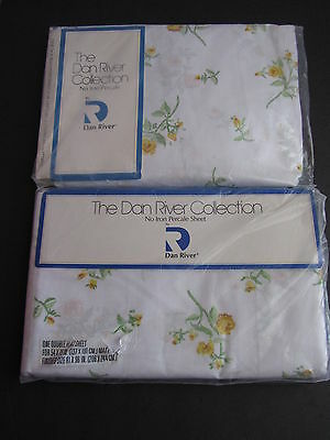 Vtg Dan River Percale Double Flat Fitted Sheets Country Floral Celanese USA New!