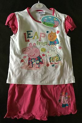 Girls T Shirt and Shorts Set with Peppa Pig 1-1.5,  2-3 and 3-4 years