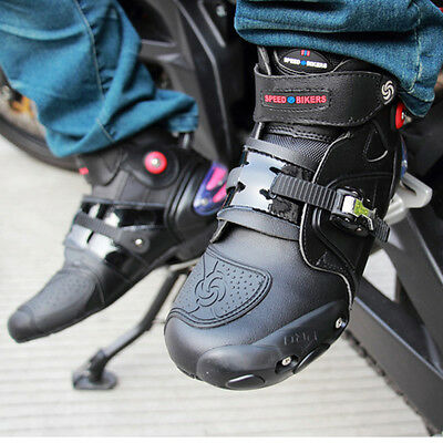 Motorcycle Sport Paddock Boot Short Black Leather Ankle Waterproof Scooter Boots
