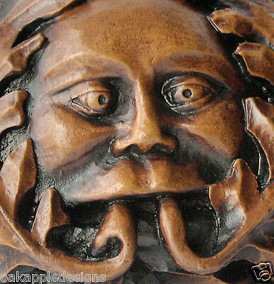 Green Man Reproduction Church Oak Carving Pagan ornament Gift Plaque Gothic Wood
