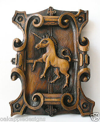 Unicorn Medieval Reproduction Church Oak Carving Unique Mythical Creature Gift