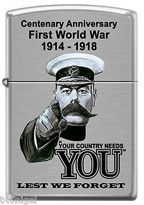 """EXCLUSIVE! - WW1 """"Your Country Needs You"""" Zippo Brushed Stainless Steel Lighter"""