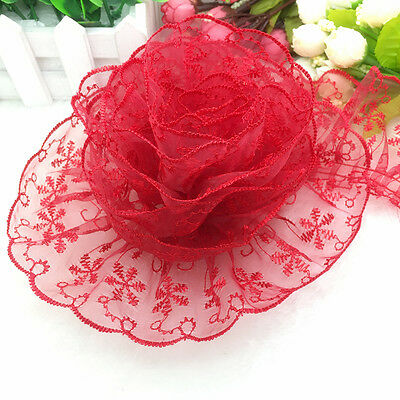 New 5 yards 65mm Red Organza Lace Gathered Pleated Sequined Trim