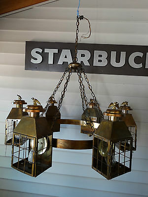 Antique vintage large Colonial 6 brass lantern light chandelier with eagle
