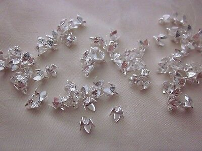30 Silver Coloured 6x5mm Pendant Bead Caps #bc3410 Combine Post-See Listing