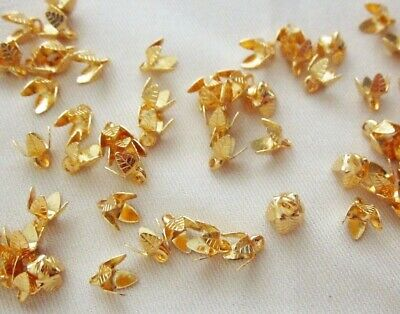 30 Gold Coloured 6mm x 5mm Pendant Brass Bead Caps #bc3412 Jewellery Findings