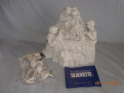 "Department 56 Winter Silhouette ""A FAMILY TRADITION"" Lighted Ceramic Figures"