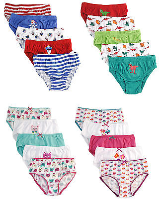 5 Pairs Kids Boys Girls Briefs Pants Knickers Underwear 100% Cotton 2 - 8 Years