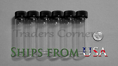 6pc 4 OZ Dram Gold Prospecting Mineral Placer Gold Glass Vials with Cap