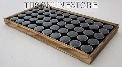 Rustic Oak Color Wood Tray With 50 Gem Jars And Foam Insert Black