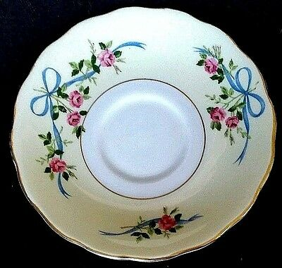 Colclough Bone China Coffee Saucer ONLY Blue Bows Dark Pink Roses England