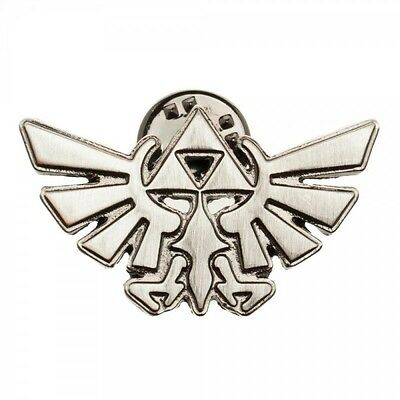 Nintendo Legend Of Zelda Triforce Logo Silver Metal Lapel Pin Badge Charm Button