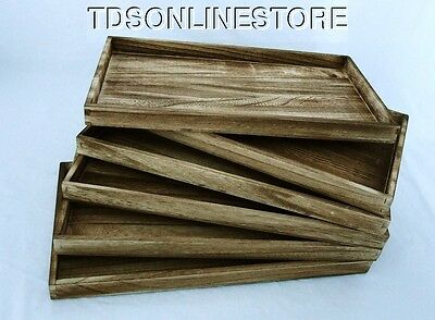 Package Of 6 Rustic Antique Oak Color Wood Jewelry Trays