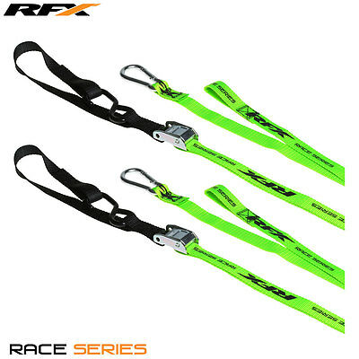 RFX Motocross Enduro Bike 1.0 Tie Downs with extra loop & carabiner clip Green