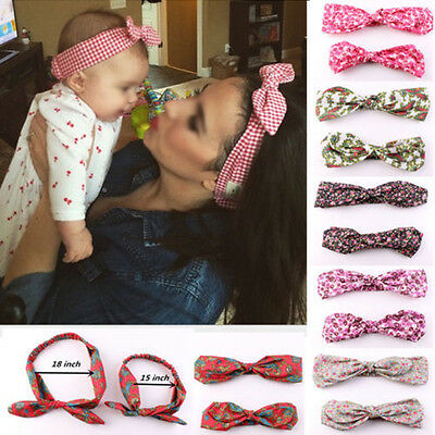 Sweet Baby Girls Toddler&Mom Rabbit Bow Headband Turban Knot Hair Band Headwrap
