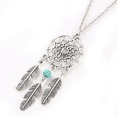 Maxi Necklace Boho Retro Ancient Silver plated Bead Leaf Tassel Pendant Necklace